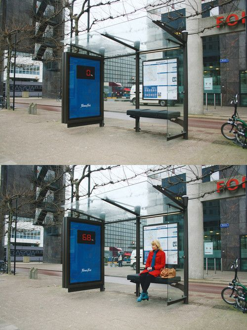 Fantastic albeit terrifying guerrilla marketing initiative from the health club chain, Fitness First.Unsuspecting commuters in the Netherlands are faced with viewing their body weight in bright lights when they take a seat at this Rotterdam bus stop.