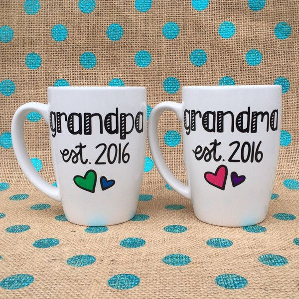 Grandparent Coffee Mug Set Grandma and Grandpa Est 2016 Hand Painted... ($32) ❤ liked on Polyvore featuring home, kitchen & dining, drinkware, drink & barware, grey, home & living, mugs, mom coffee mug, heart shaped mug and ceramic mugs