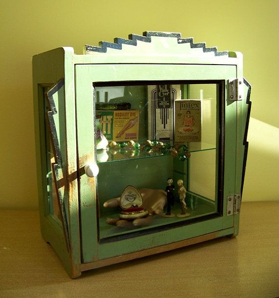 Vtg Antique Small Art Deco Countertop Curio Case Display