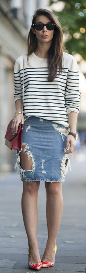 1000  images about Denim Skirts on Pinterest | Alexa chung, Olivia ...