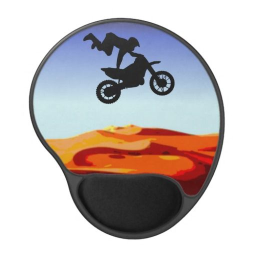http://www.zazzle.com.au/dirt_bike_stunt_mouse_pad-159740280228774229?rf=238523064604734277 Dirt Bike Stunt Mouse Pad - This mouse pad features a silhouette of a man in the sky on his dirt bike doing a stunt in the desert.