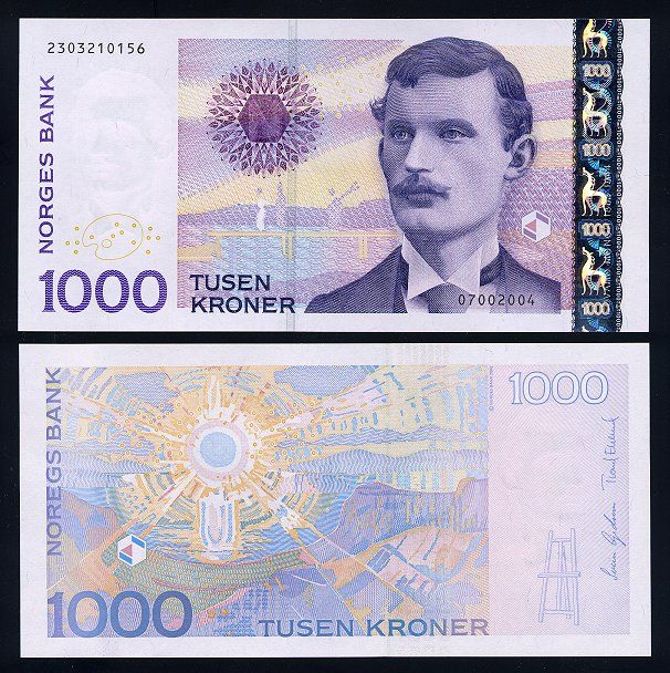 Norwegian 1000 kroner bill. Equivalent to a 100 poumds, or 160 dollars. The man is Edward Munch.