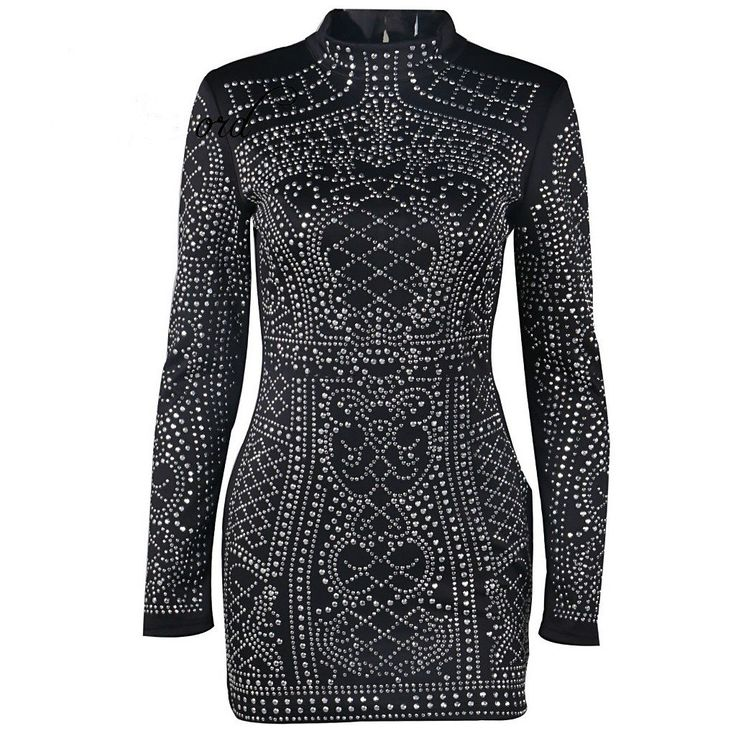 Geometric Studded Dress Material Polyester Length Above Knee