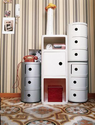 Componibili Storage - 4 drawers - H 77 cm Silver by Kartell