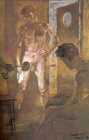 Σπουδή για την εικονογράφηση της «Βάρδιας», του Νίκου Καββαδία 1975-76. Παστέλ σε χαρτί kraft