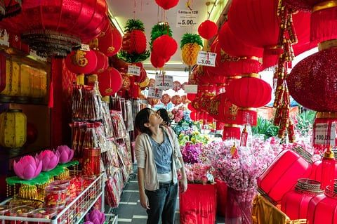 Kuala Lumpur, Malaysia. Chinese lanterns and decorations for sale in the Chinatown area of the city in the run-up to Lunar New Year celebrations