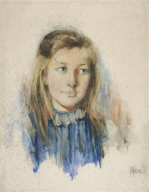 Frances Hodgkins. The Girl with Flaxen Hair, 1893. Watercolour, 19 x 15 ins. Dr E. H. McCormick, Auckland.
