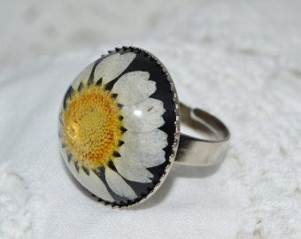 Real Pressed Daisy Flower Resin Ring in a silver crown setting