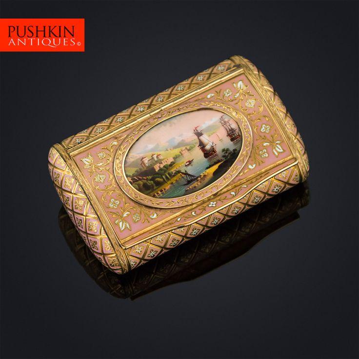 ANTIQUE 19thC SWISS 18K GOLD & ENAMEL SNUFF BOX, BAUTTE & MOYNIER, GENEVA c.1810