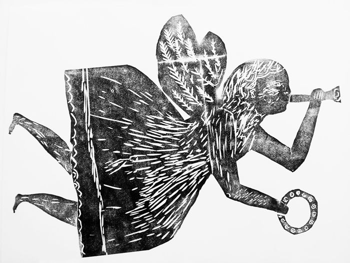 """Angel"" by Cornelia O'Donovan, relief print, illustration, christmas, texture, lino cut, printmaking"