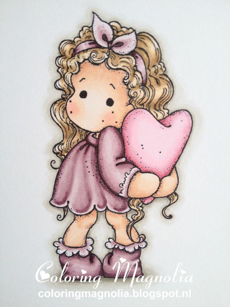Coloring Magnolia Stamp 2013 With Love Collection - Tilda Hiding Heart  Copics:  Haar: E43-E31-E53-E51-E50  Huid: E13-E11-E00-E000-R20  Kleding en laarzen: RV99-RV95-RV93-RV91  Hart: R85-R83-R81-RV10-RV00  Achtergrond schaduw: W5-W3-W1-W00
