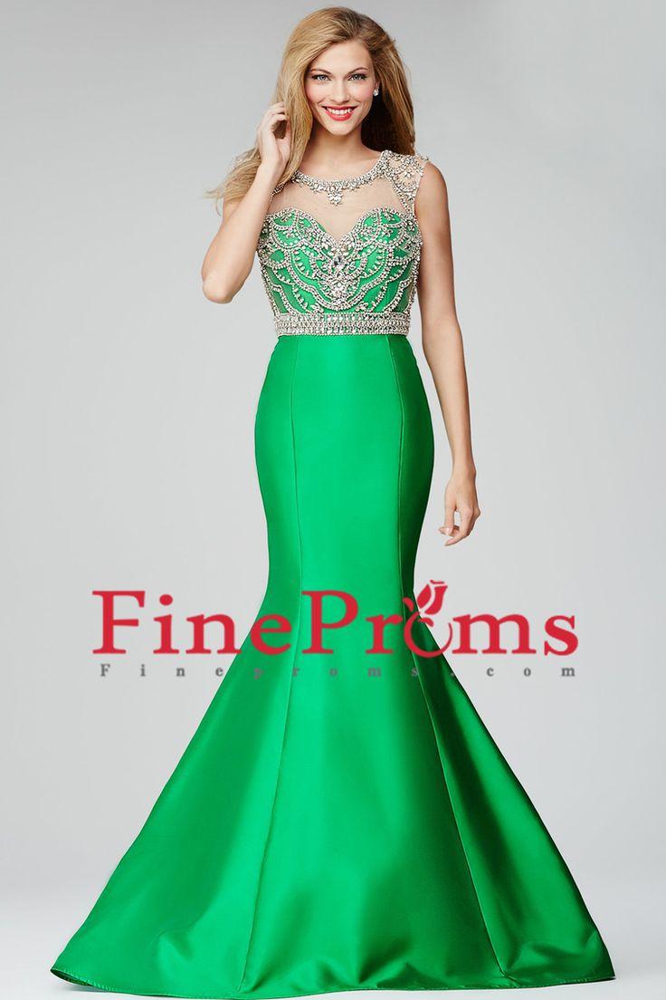 2016 Mermaid Prom Dresses Floor-Length Scoop Satin Sheer Bodice With Beading Work
