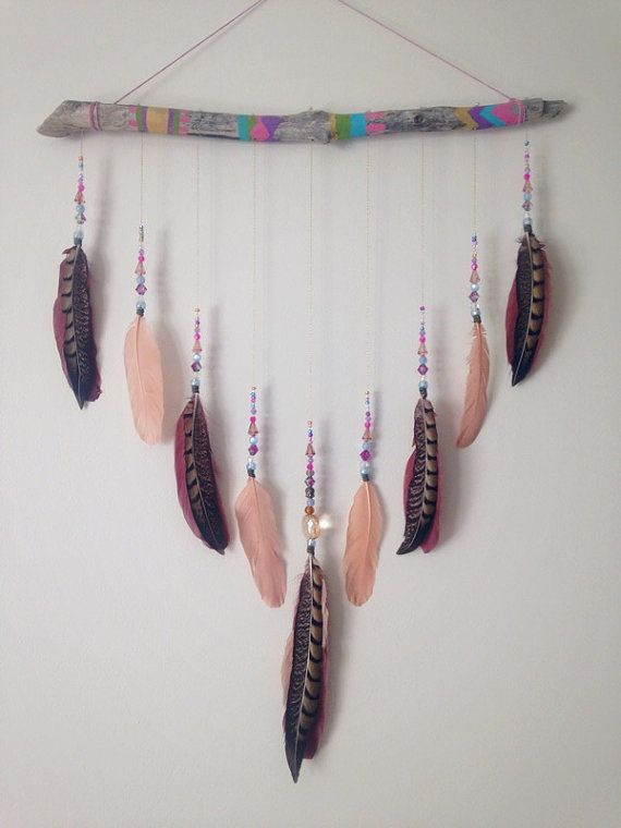 Boho Feather Wall Hanging Painted Wood Dream by InspiredSoulShop
