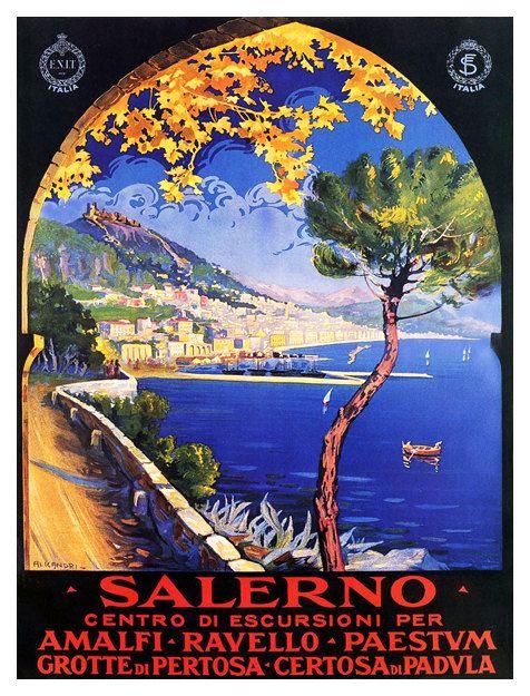 Salerno Italia viaggio Vintage Poster Stampa di WallArty su Etsy