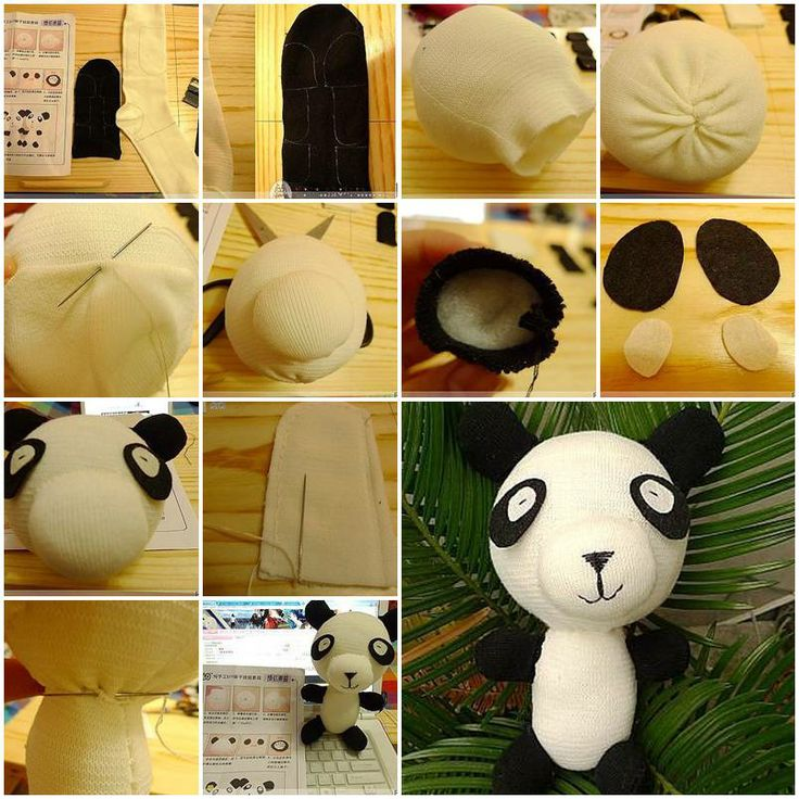 How to sew Panda Doll with socks DIY tutorial instructions, How to, how to do, diy instructions, crafts, do it yourself, diy website, art project ideas