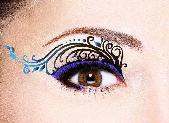 Eye Temporary Tattoo Makeup Tattoo; Transfer Eye Tattoo, Eyelids Temporary Tattoo, Black Lace Tattoo, Party Prom Festival Halloween, Bride