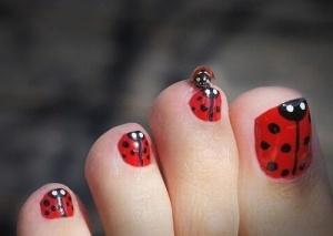 Ladybug toe nails