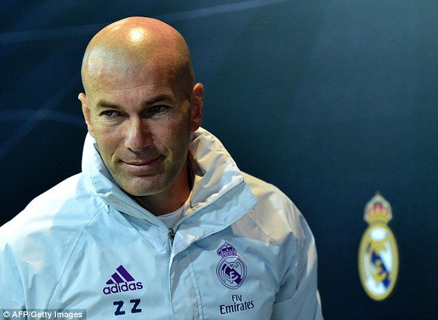 Zinedine Zidane is pictured at a press conference at Valdebebas in Madrid on Tuesday