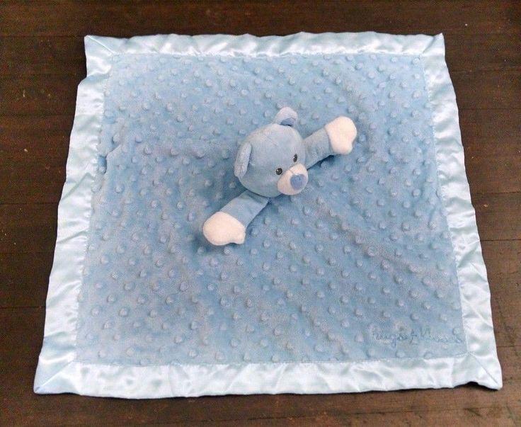 Baby Starters Lovey Blue Minky Dot Plush Teddy Bear Rattle Satin Hugs & Kisses #BabyStarters