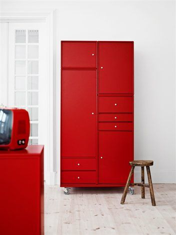 Montana wardrobe. Storage for you and your belongings. #MontanaDesign #DanishDesign #Storage #Colour #red