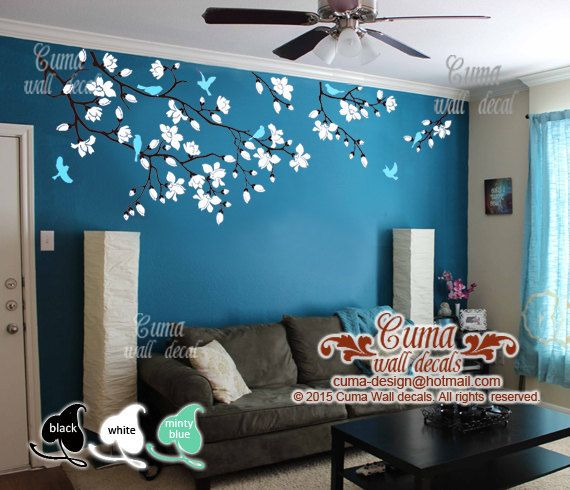 Exceptional Cherry Blossom Wall Decals Nursery White Flowers Vinyl Wall Decal Tree  Birds Wall Sticker Kids Decals Part 28