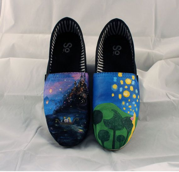 Hand painted Bob shoes with two Scenes from by EmsGemsandArtwork, $100.00