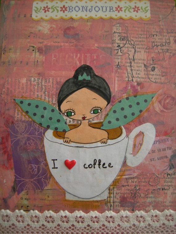 I Love Coffee  Original mixed media painting and by eltsamp, $47.00