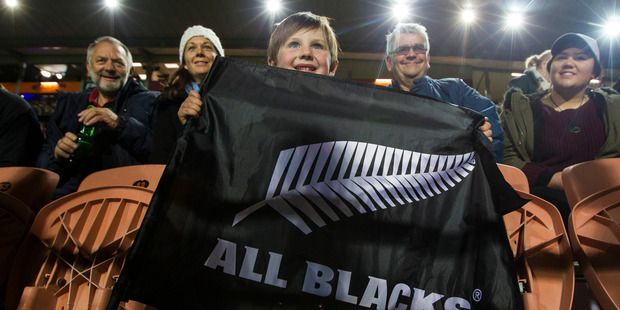 All Blacks fans at the All Blacks and Argentina Rugby Championship test match at…