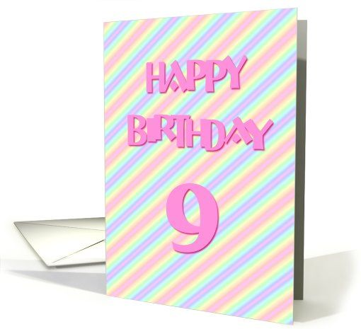 9`th Birthday-For Girls-Pink-Pastels card