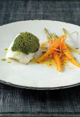 Griet met kruidenkorstje, jonge worteltjes met een vinaigrette van citroen en tijm - Culinaire Ambiance - Philippe Van den Bulck !
