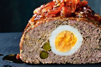Pork and beef meatloaf with bacon jam