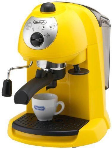 Delonghi espresso / cappuccino maker yellow EC200N-Y - http://www.storekitchendining.com/delonghi-espresso-cappuccino-maker-yellow-ec200n-y/