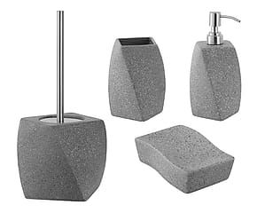 Set da bagno Big Stone in ceramica grigio - 4 pezzi