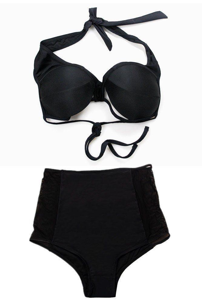 Achat Maillots De Bain Taille Haute Noir Mesh Cutout Taille Haute Bikini en Petit Prix, Acheter en Solde de Maillots De Bain Sexy Maillots de bain Taille Haute en Ligne!
