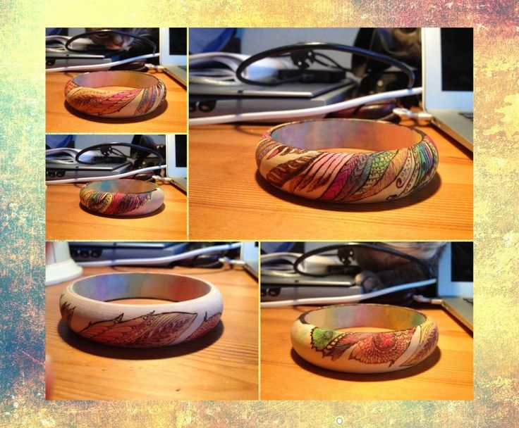 pirography bangle - colored feather