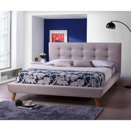 "Walmart $330 ""beige""?  but looks rose Baxton Studio Jonesy Scandinavian Style Mid-Century Fabric Upholstered Platform Bed"