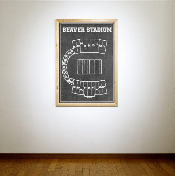 Vintage Print of Beaver Stadium of Pennsylvania State by ClavinInc