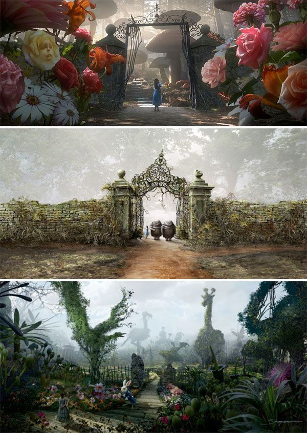 Awesome tableaus. Nice use of symmetrical framing bringing attention to subject while still providing incredible vistas. Top one has a foreground that's a little distracting, would require longer screentime or more shallow DOF