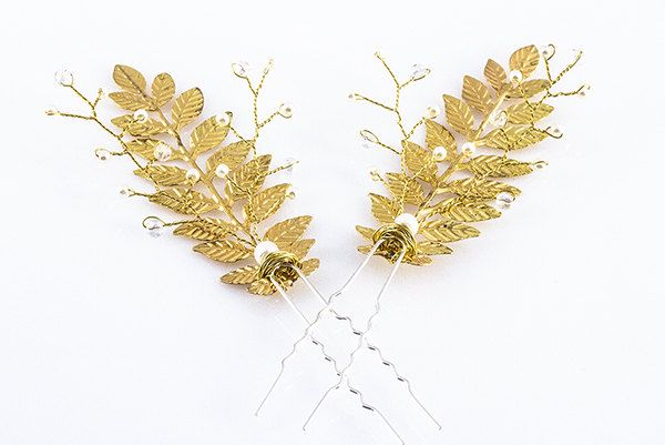 A personal favorite from my Etsy shop https://www.etsy.com/listing/454971284/cleo-gold-leaf-hair-pins