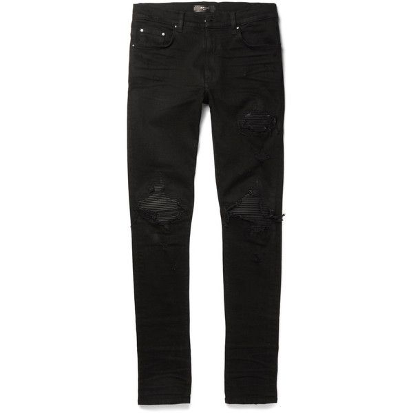 AMIRI MX1 Skinny-Fit Leather-Trimmed Distressed Stretch-Denim Jeans ($1,040) ❤ liked on Polyvore featuring men's fashion, men's clothing, men's jeans, mens super skinny stretch jeans, 80s mens jeans, mens pleated jeans, mens destroyed jeans and mens super skinny ripped jeans