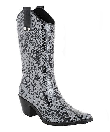 Take a look at this Black Cowboy Rain Boot by Capelli New York on #zulily today! Who knew ?