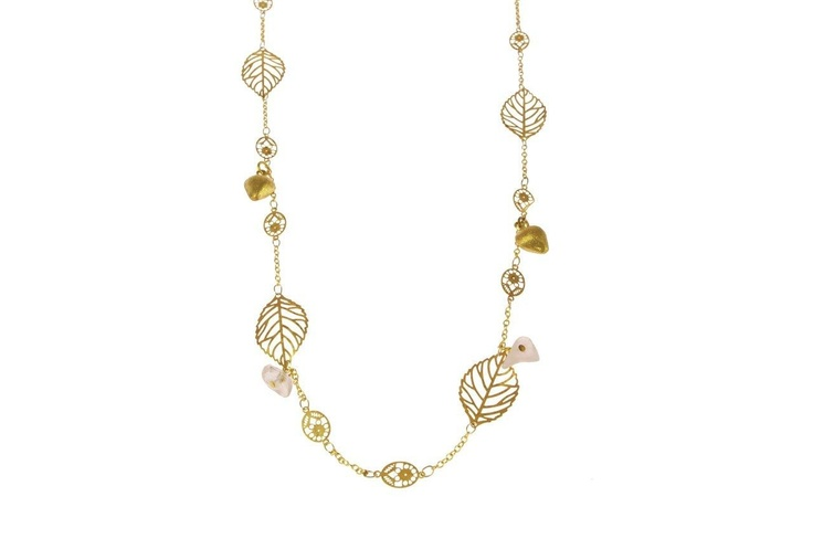 Sam Ubhi Gold Coloured Boho Leaf Necklace with Rose Quartz