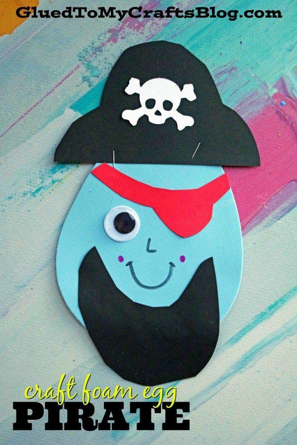 Craft Foam Egg Turned Pirate – Kinder-Bastelidee zum Thema Frühling. Süße Idee für Pirat …   – Pirate Themed Speech Therapy!