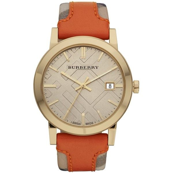 Burberry Watch, Women's Swiss Haymarket Check Fabric And Smooth Orange... ($495) ❤ liked on Polyvore