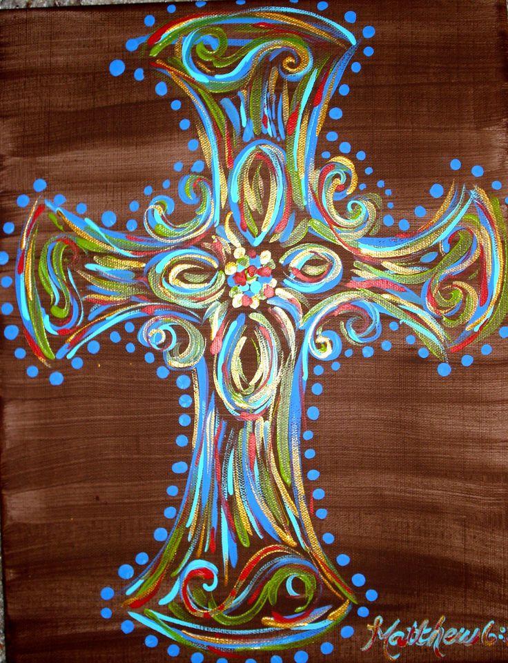 Cross canvas painting. $15.00, via Etsy.