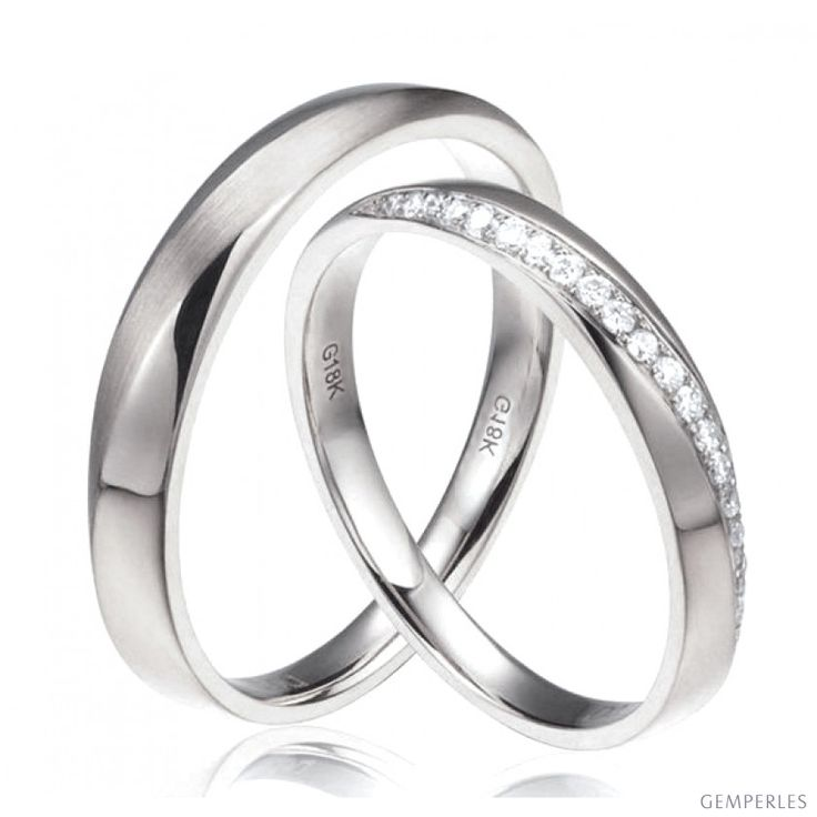Alliances modernes homme et femme. Or blanc 18cts, diamants