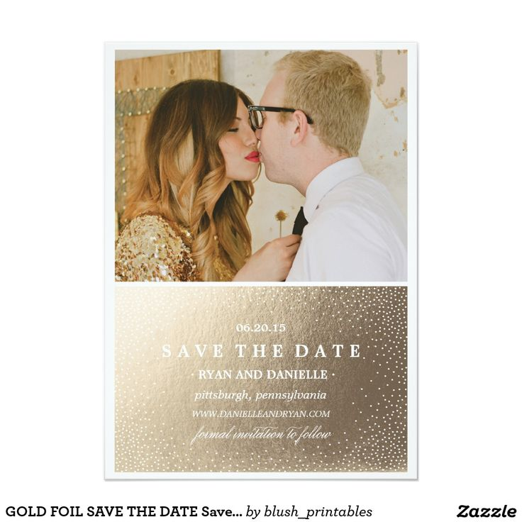 cruise wedding save the date announcement%0A GOLD FOIL SAVE THE DATE Save the Date Announcement
