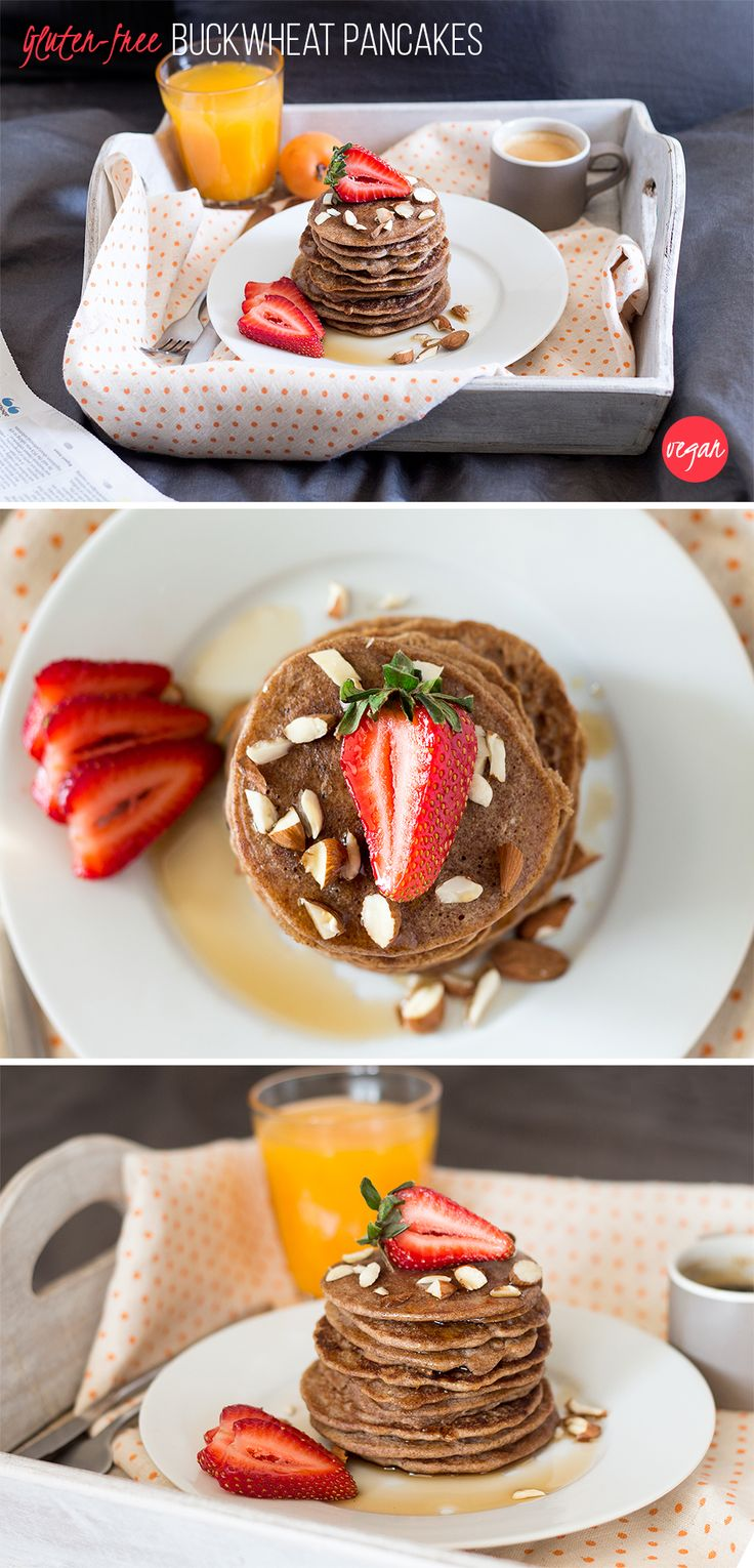 Delicious breakfast pancakes that are quick & easy to make, vegan and gluten free too. Perfect for a lazy weekend breakfast in bed. #vegan #gluten-free #breakfast #pancakes #buckwheat