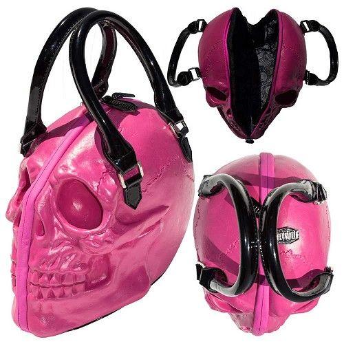 Schedel handtas roze – Horror Halloween - Kreepsville