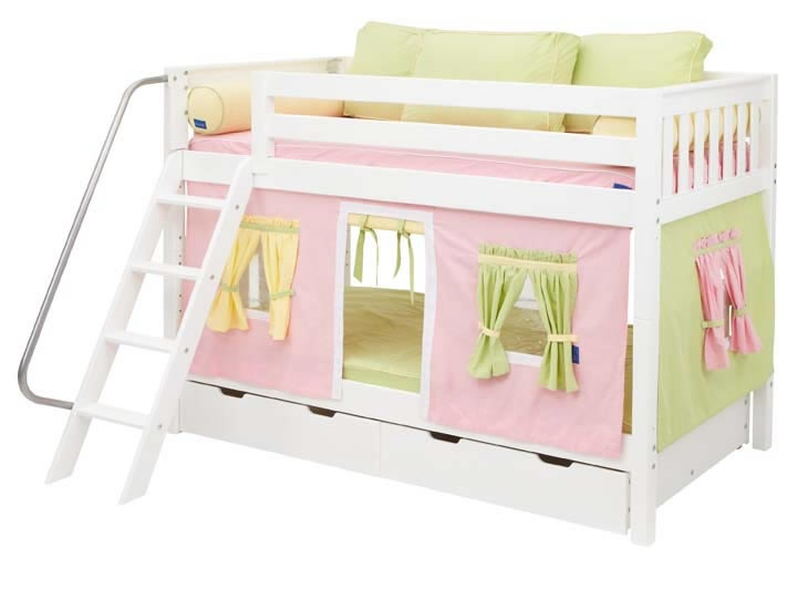 White Hot Bunk Bed By Maxtrix Kids Pink Yellow Green Playhouse